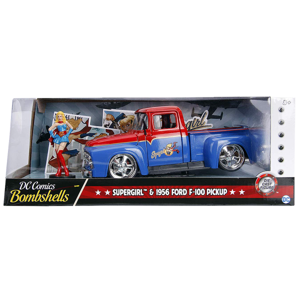 DC Bombshells - 1956 Ford F100 Pickup with Supergirl 1/24th Scale Hollywood Rides Die-Cast Vehicle