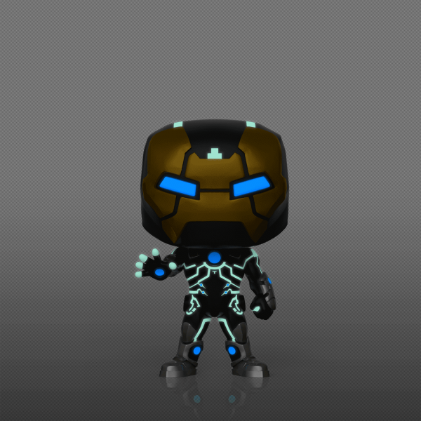 You'll notice the suit doesn't feature the iconic red design, instead it takes on a silver and gold coloured armour, complete with blue eyes. What makes this Pop! even more epic is the fact that it Glows in the Dark!