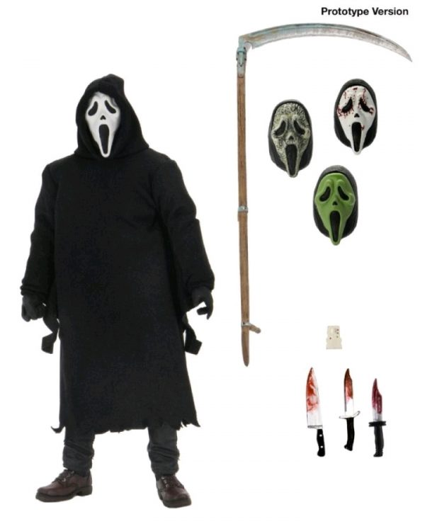 Ghost Face, a costume worn by every villain in the Scream franchise, stands approximately 7″ tall. Is dressed in an all fabric robe for full pose ability, and comes with a disturbing amount of sharp objects including 3 knives and a scythe. This Ultimate offering also comprises of 4 interchangeable heads including the original mask, the bloody variant, a zombie mask, and a glow in the dark mask. Window box packaging.