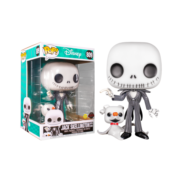 "The Nightmare Before Christmas - Jack Skellington with Zero Glow US Exclusive 10"" Pop! Vinyl"