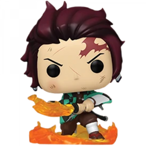 Here we have Tanjiro Kamado armed with his Nichirin Blade that's flaming, which comes with the chance og a Glow in the Dark Chase Variant!